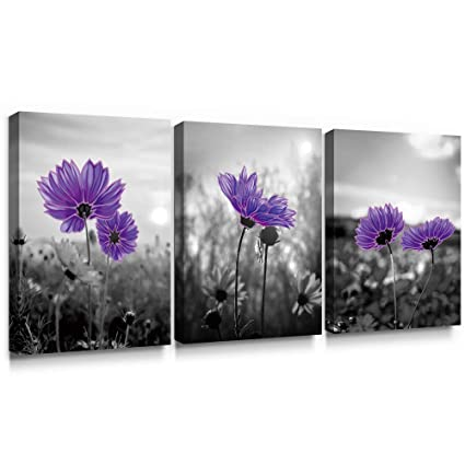 SUMGAR Purple Wall Art for Bedroom Prints of Daisy Flowers Decor for Living  Room Ready to Hang, 12\'\'x16\'\'x3pcs