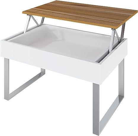 table basse avec plateau relevable et rangement marque Levira