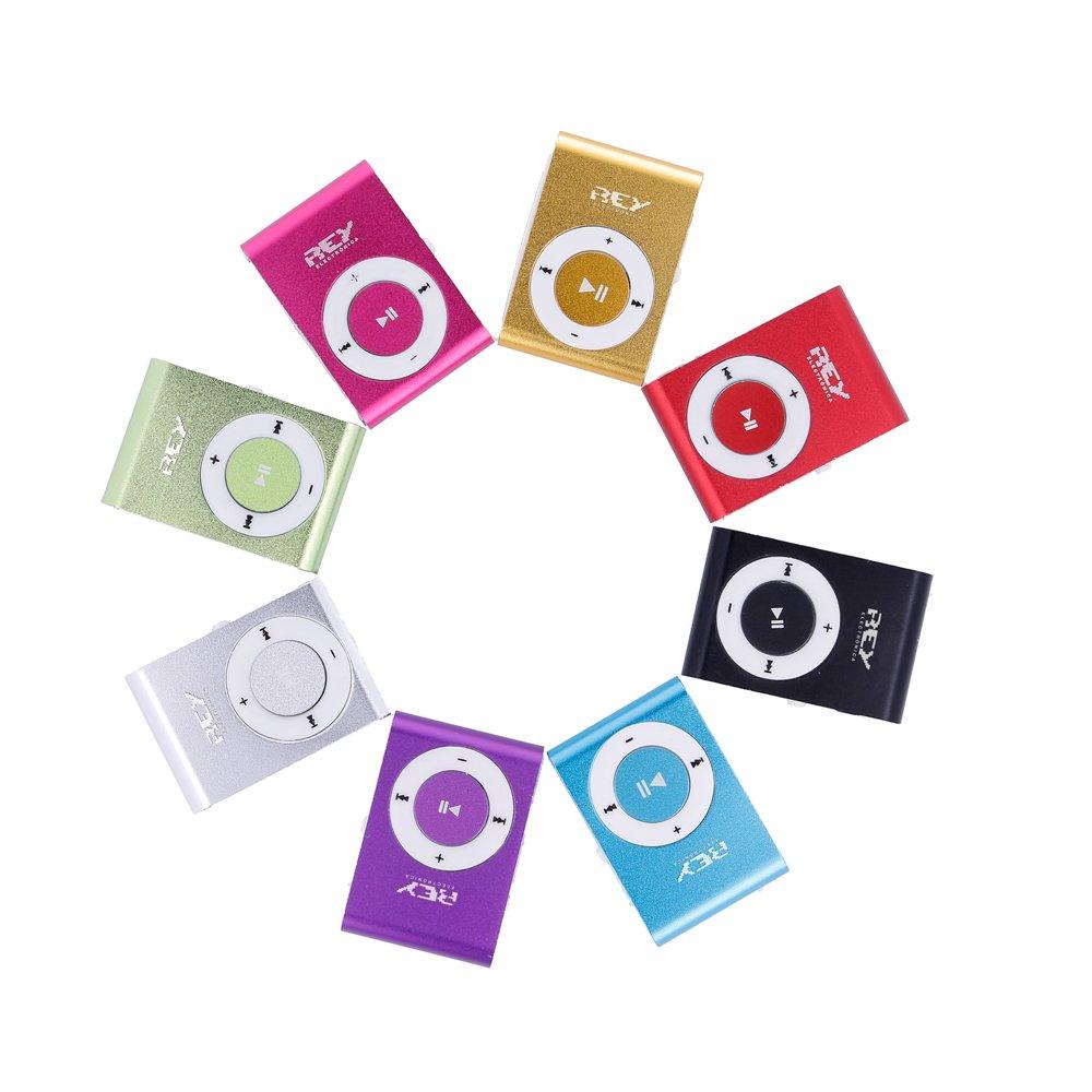 Cable de Carga Auricular Blanco Tarjeta de 4Gb Electr/ónica Rey/® Music Player Azul Mini Reproductor MP3 con Enganche de Clip