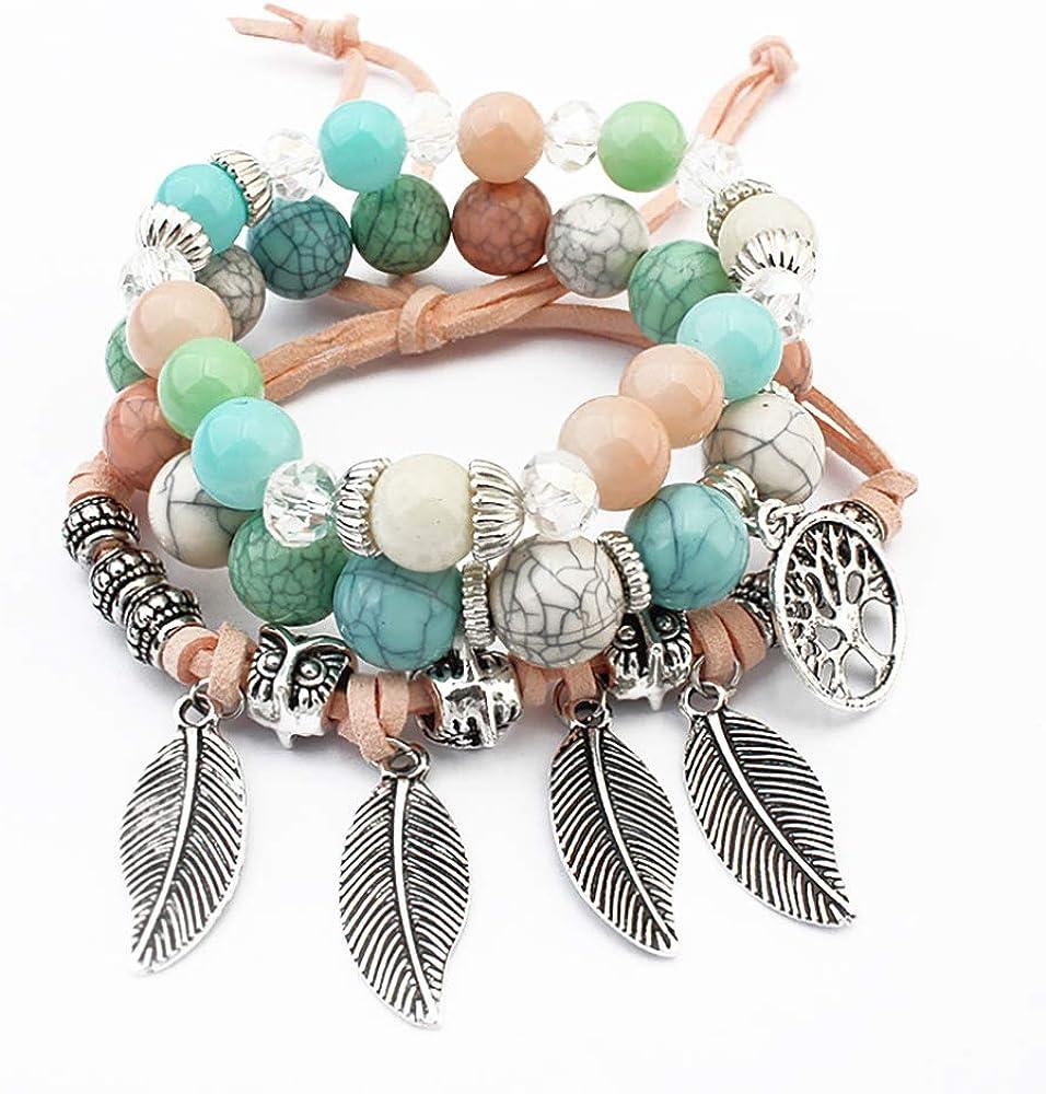 Bracelet Arbre Trois Bracelets en Perles Naturelle avec Pendentif Arbre de Vie Porte Bonheur