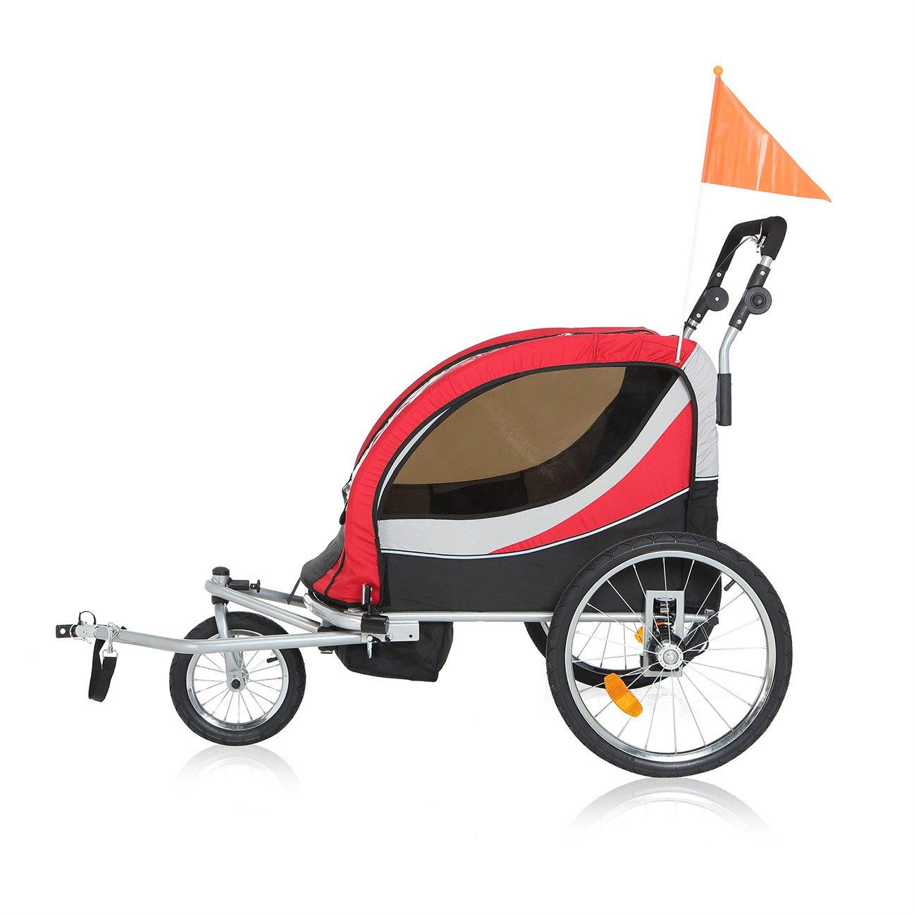 SAMAX PREMIUM Remolque de Bicicleta para Niños 360° girable Kit de Footing Transportín Silla Cochecito Carro Suspensíon Infantil Carro in Rojo/Gris - Silver ...