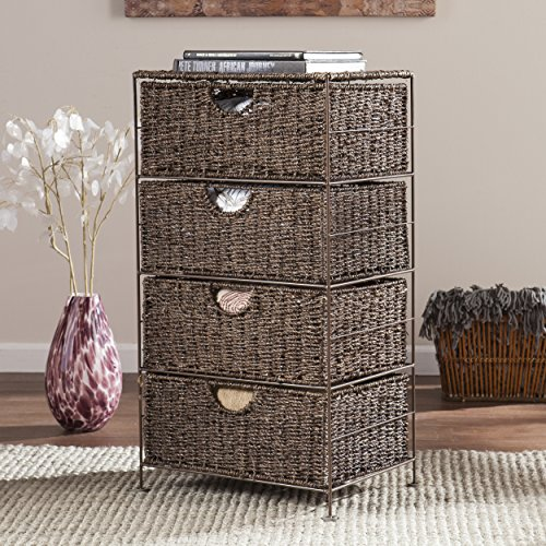 Southern Enterprises AMZ2230ZH Kelsey Seagrass 4-Drawer Storage, Brown (Enterprises Sideboard Southern)