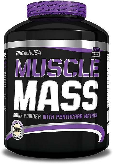 Biotech USA Muscle Mass Ganador de Peso y Carbohidratos Sabor Vainilla - 2270 gr