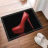 NYMB Creative Sex Woman Decor, Red High Heels in Black Bath Rugs, Non-Slip Doormat Floor Entryways Outdoor Indoor Front Door Mat, Kids Bath Mat, 15.7x23.6in, Bathroom Accessories