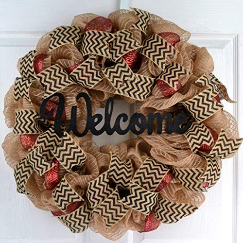 Welcome Wreath | Jute Burlap and Maroon Black Burlap Chevron Letter Initial Wreath | Wedding Gift -