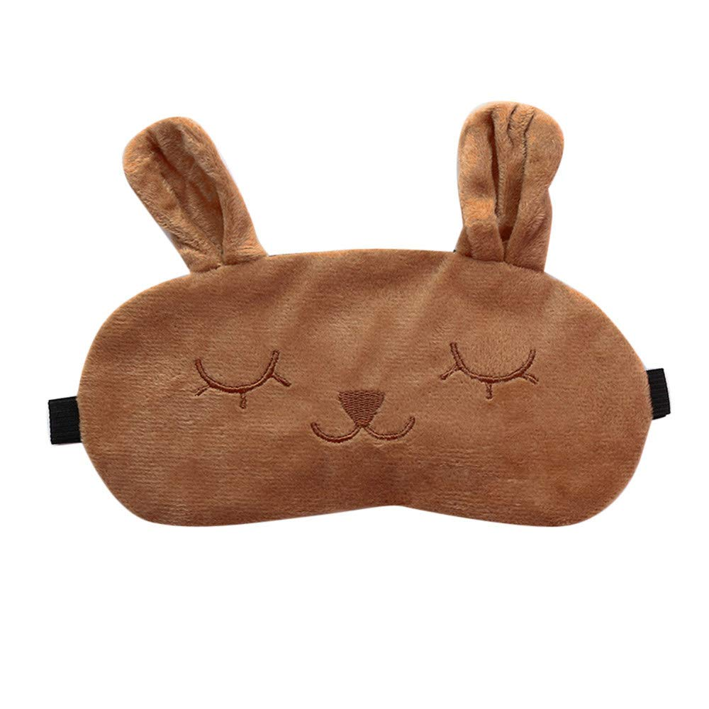 Saying Cute Cartoon Eyes-Closed Rabbit Sleep Eye Mask Padded Shade Cover Travel Relax Aid Soft Comfort Blindfold Great for Travel, Shift Work, Meditation for Women Girls (Brown)