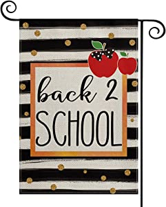 AVOIN colorlife First Day of School Watercolor Stripe Polka Dot Teacher Garden Flag Double Sided, Back to School Appreciation Yard Outdoor Decoration 12.5 x 18 Inch