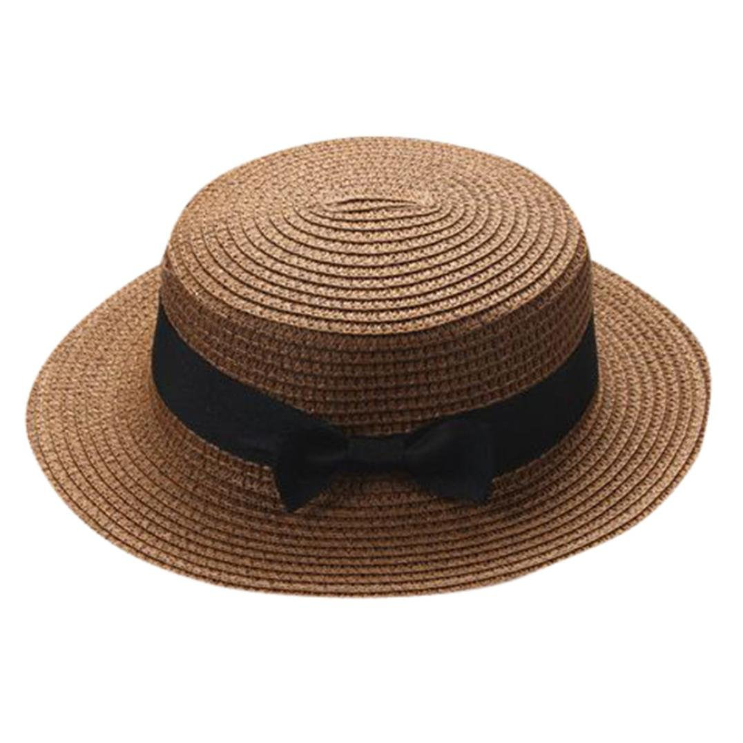 WARMSHOP Mom Dad&Me Summer Sun Protective Hat Bowknot Breathable Children Holiday Beach Wide Brim Casual Kids Adults Hat Cap (Coffee (Adults))