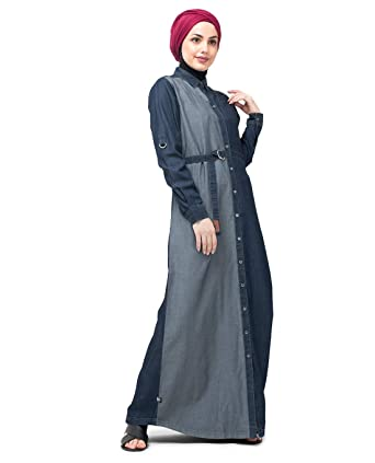 f867ac09ac2 Silk Route Mono Side Belted Blue Denim Urban Abaya Maxi Dress Jilbab Small  58