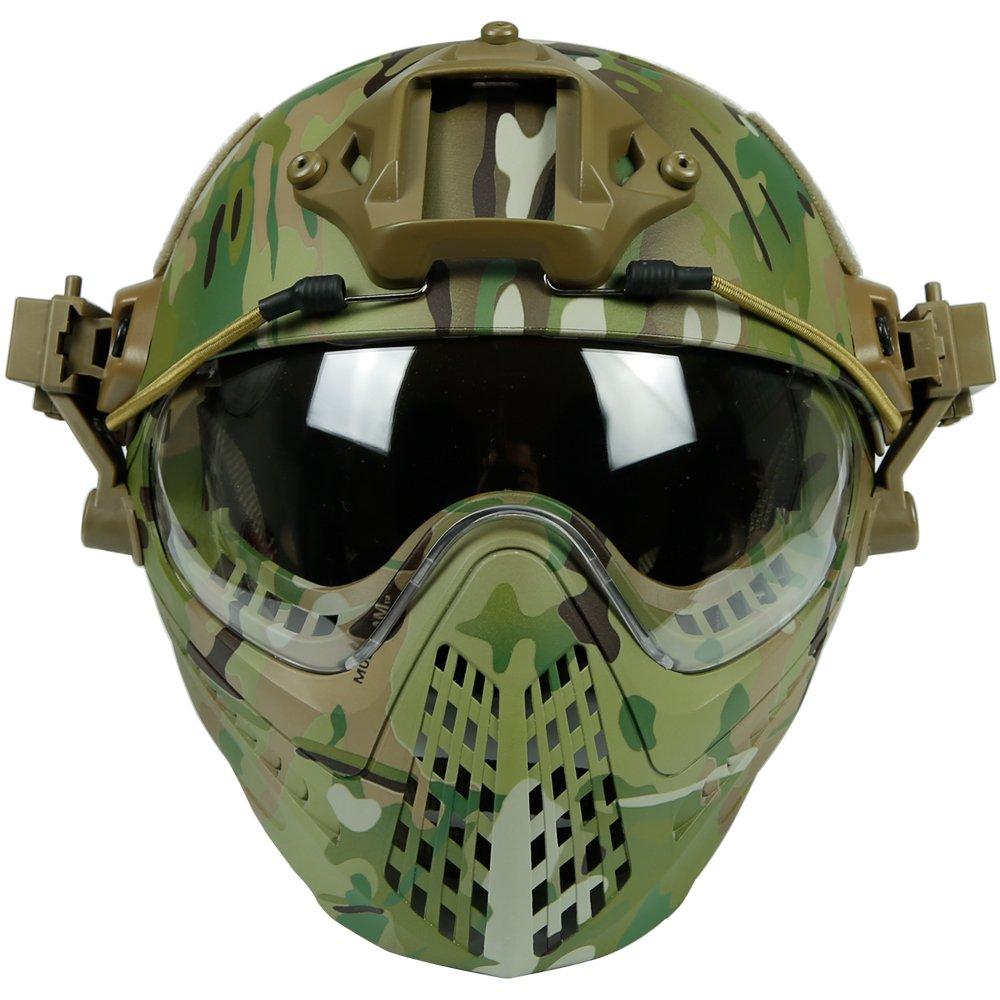 Hotour Taktischer Helm mit entfernbarer Gesichtsmaske und Schutzbrillen f/ür Milit/ärarmee Airsoft