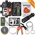 Monoki Emergency Survival Kit, 9-In-1 Compact Outdoor Survival Gear Kits Portable EDC Emergency Survival Tool Set with Gift Box for Camping Hiking Hunting Climbing Travelling Wilderness Adventures by Monoki