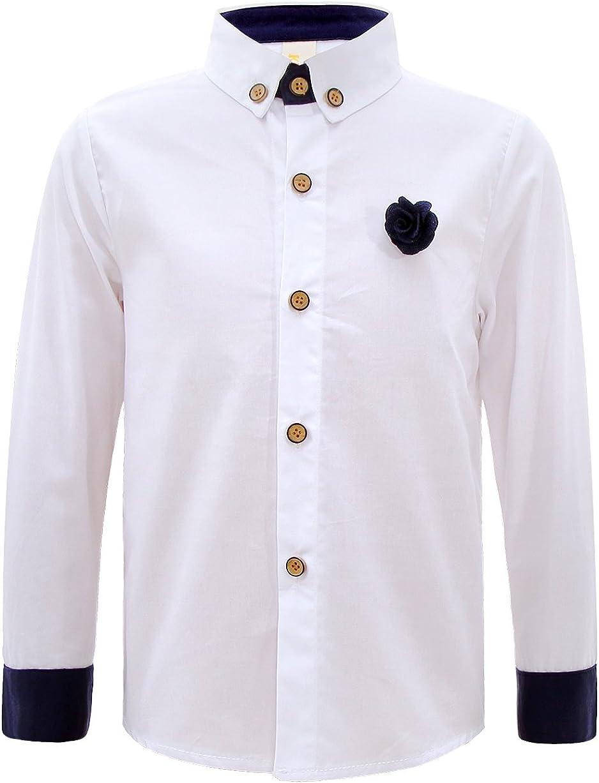 GEMVIE Camisa Blanca Niño Primavera Fiesta Escolar con Broche de Flor: Amazon.es: Ropa y accesorios
