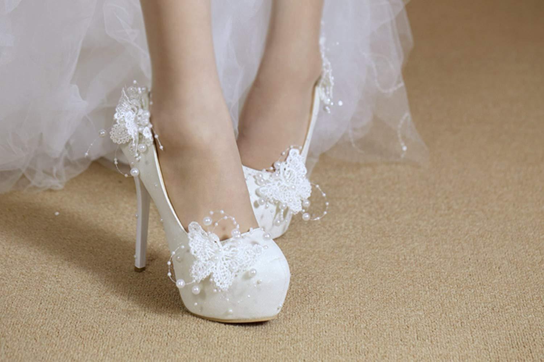 ZHRUI Damen-Versteckte Damen-Versteckte Damen-Versteckte Plattform-Stilett-Absatz-Satin-Hochzeits-Schuhe mit Blaume (Farbe   Weiß-14cm Heel, Größe   5 UK) a54997