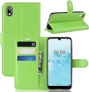 Funda para Huawei Y5 2019 Case Flip Cover Cartera con Ranura para Tarjetas Estuche de Cuero PU + Interior de Silicona TPU Case con Soporte Carassa para Huawei Y5 2019 Smartphone,Verde: Amazon.es: