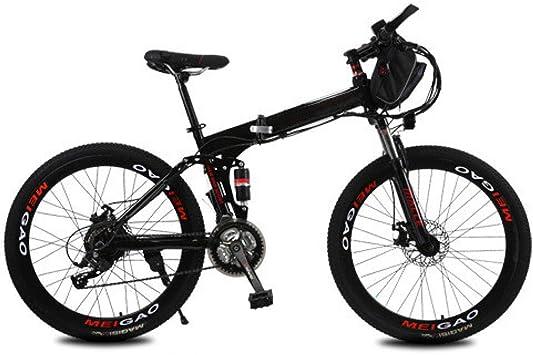 KNFBOK Bicicleta eléctrica Plegable de Litio, 26 Pulgadas, 21 velocidades, 36 V, Rueda de Radio para Adultos, 8 A, 25 a 30 km, 8 baterías de protección Pesada, Negro: Amazon.es: Deportes y aire libre