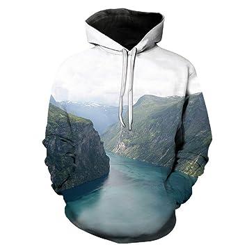 HJNBKC Sudadera 3D Suelta Gran tamaño Piedra montaña río impresión Sudadera con Capucha Sudadera Transpirable,