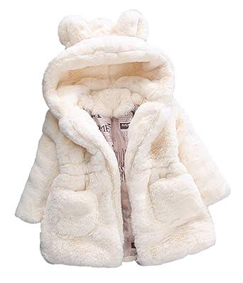 fc0eb7bc7a12 Jojobaby Baby Girls Winter Fleece Coat Rabbit Faux Fur Hoodies Winter Warm Outerwear  Jacket Bunny Ear
