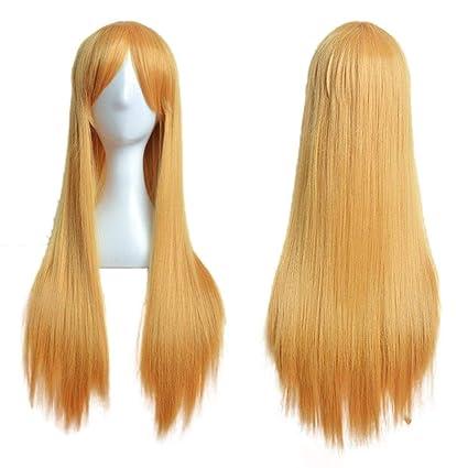 Beikoard Peluca-80cm peluca completa recta larga peluca cosplay partido traje de pelo (amarillo