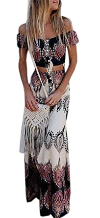 81c811b3b9c KLJR-Women Boho Crop Top Maxi Skirt Set 2 Piece Outfit Flowy Maxi Dress One