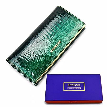 Brieftasche damen leder - Geldbörse Frau Leder Lang - Rindsleder echte lange und Design - Krokodilleder Muster Luxus hohe Qua