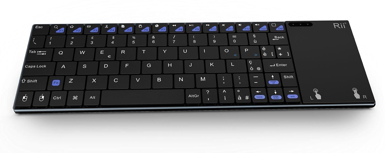 Rii - Mini i12 Bluetooth: Teclado Bluetooth (disposición italiana) ultrafino, táctil, con mouse, para Tablet, Smartphone, Mini PC, Computer, PlayStation, ...