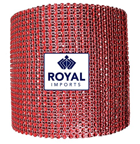 Red Rhinestone Diamond Bling Wrap Ribbon for Wedding Cake, Party, Holiday & Home Decoration, 10 Yards by Royal Imports