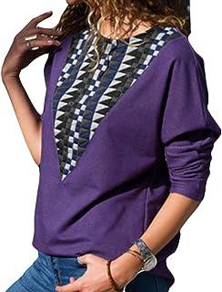 junkai Tee-Shirt Manches Longues À Manches Longues pour Femmes Plaid Shirt Col Rond S-XL