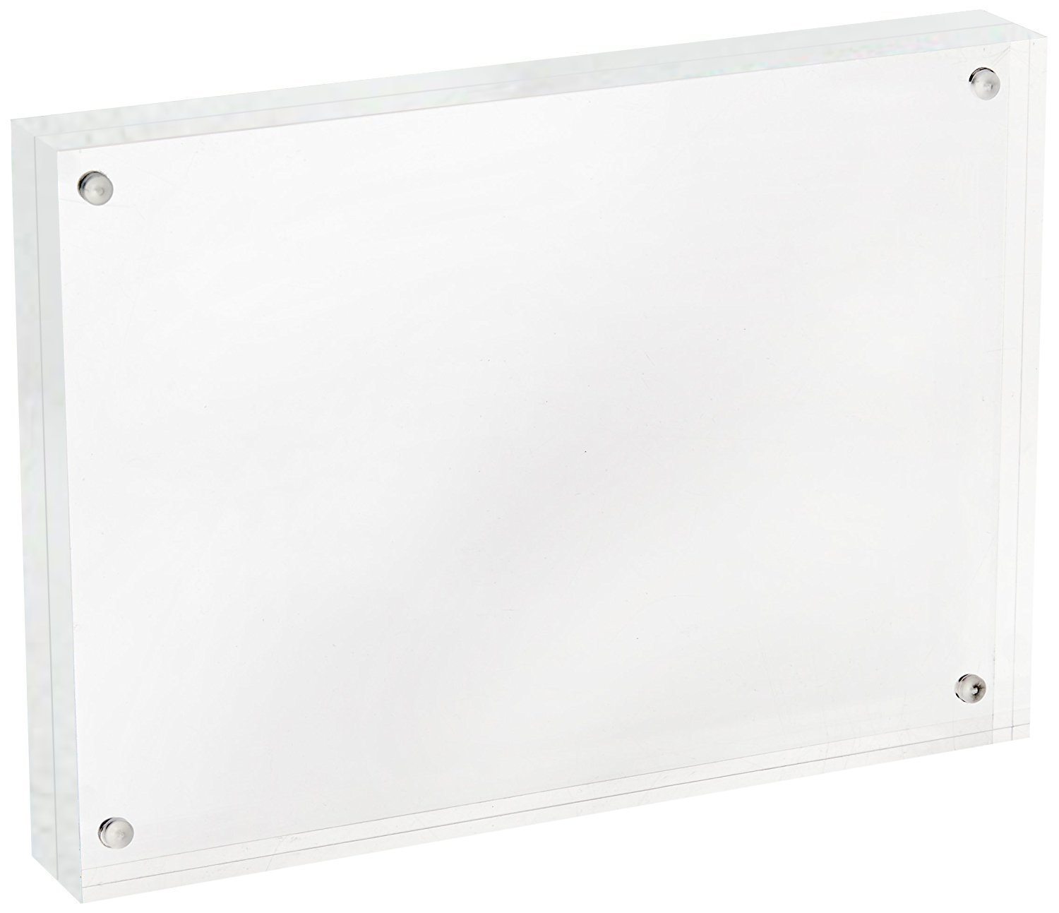 Cq acrylic 8'' x 10'' Acrylic Magnetic Picture Frame, Clear, 10 + 10MM Thickness Stand In Desk / Table,Pack of 1