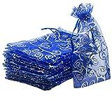 YIJUE 100pcs Drawstrings Organza Gift Candy Bags Wedding Favors Bags (6x8, Blue Silver)