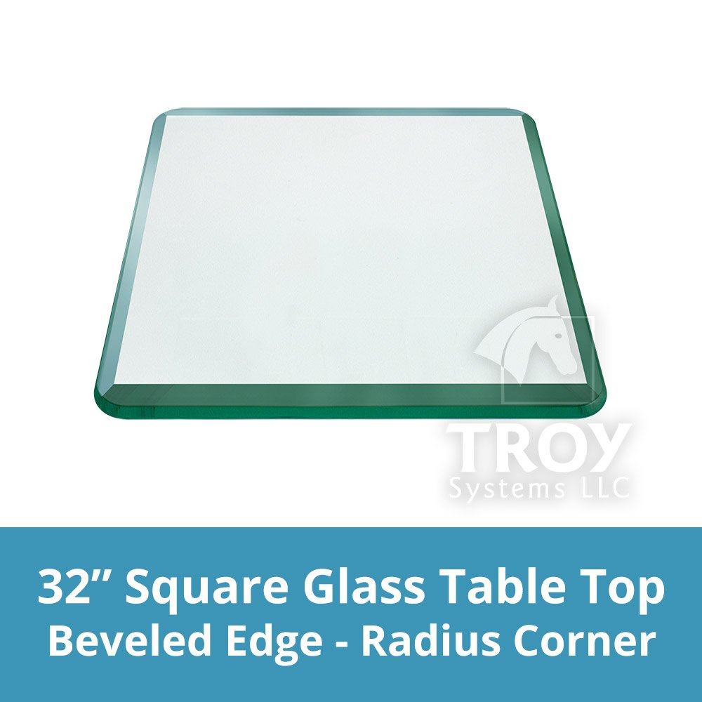 TroySys Square 1/2 Inch Thick Bevel Polished Annealed Glass Table Top Radius, 32'' L