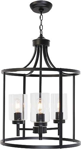 VINLUZ Industrial Pendant Lighting Black 3-Light Kitchen Island Chandeliers Modern