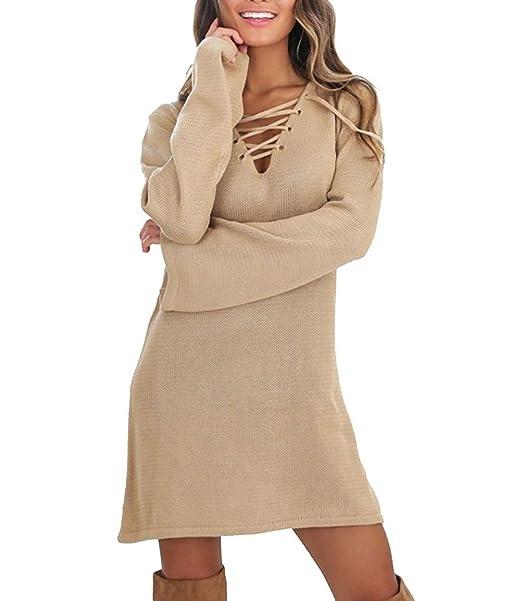 ... Elegante Moda New Look Casual Color Sólido Originales Dress Cálido Vestido Informales Correas Cruzadas V Cuello Vestir Mini Negro Otoño Invierno Blusas: ...