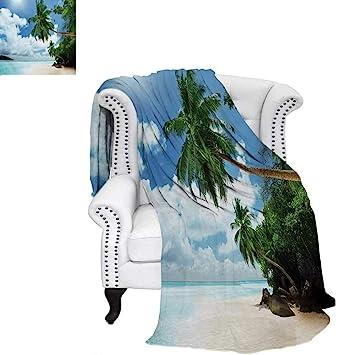 fc0bac4b91a22 Amazon.com: warmfamily Beach Digital Printing Blanket Palm Leaves ...