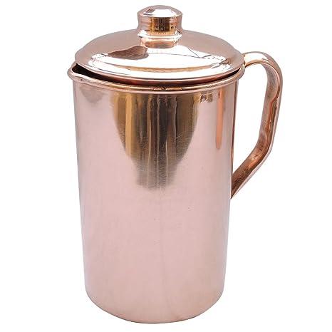 Jarra de agua HealthGoodsEU hecha de cobre puro, jarra de cobre para Ayurveda