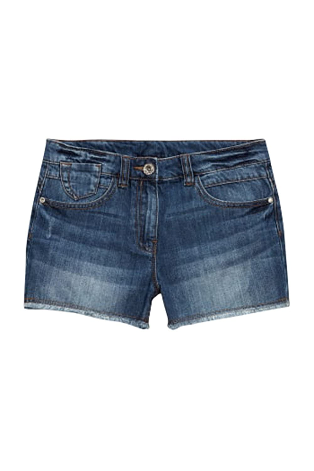 Highstreet Outlet Girls Kids Blue Denim Shorts with Frayed Edge and Adjustable Waist