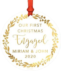 Andaz Press Personalized Wedding Engagement Round Metal Christmas Ornament, Our First Christmas Engaged, Miriam & John 2020, Gold Holiday Wreath, 1-Pack, Includes Ribbon and Gift Bag, Custom Name