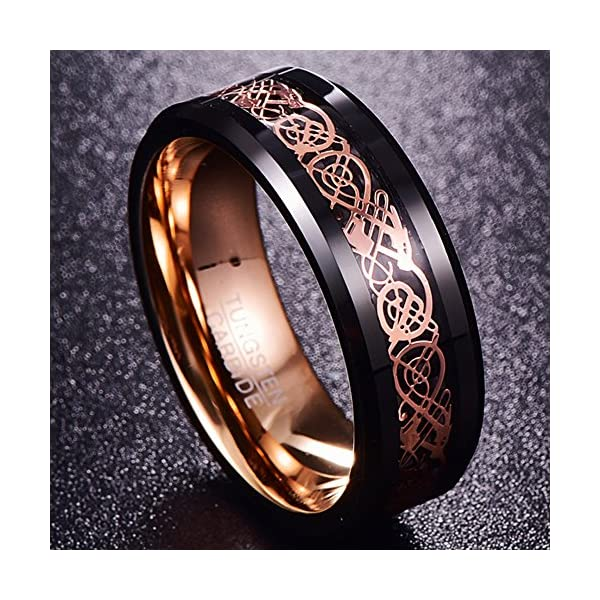 Nuncad Anello uomo/donna in oro rosa + nero, incisione Celtic Dragon con design Comfort-Fit lucido, ideale per matrimonio, fidanzamento, associazione, taglia 54 a 67