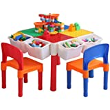 Hpptoy Kids Activity Table, 4in1 Water Table, Play Table, Building Blocks Table and Storage for Toddler, Includes 1…