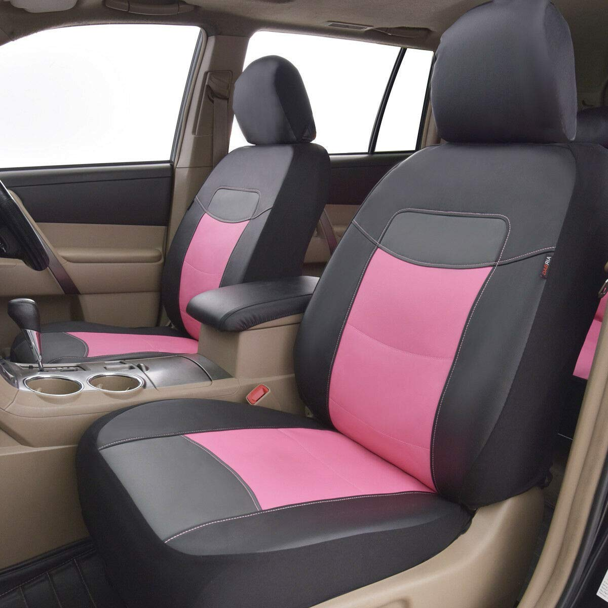 Flying Banner 11 PCS Car Seat Covers Full Set PVC Leather Pink and Black 004-Style Waterproof Composite Sponge Inside Airbag Compatible Universal fit Most Car,Truck,SUV and Van