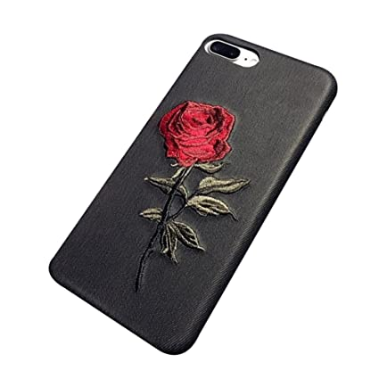 reputable site a462b 0c2ea Amazon.com: starlit Creative Rose Embroidery Faux Leather Phone Case ...