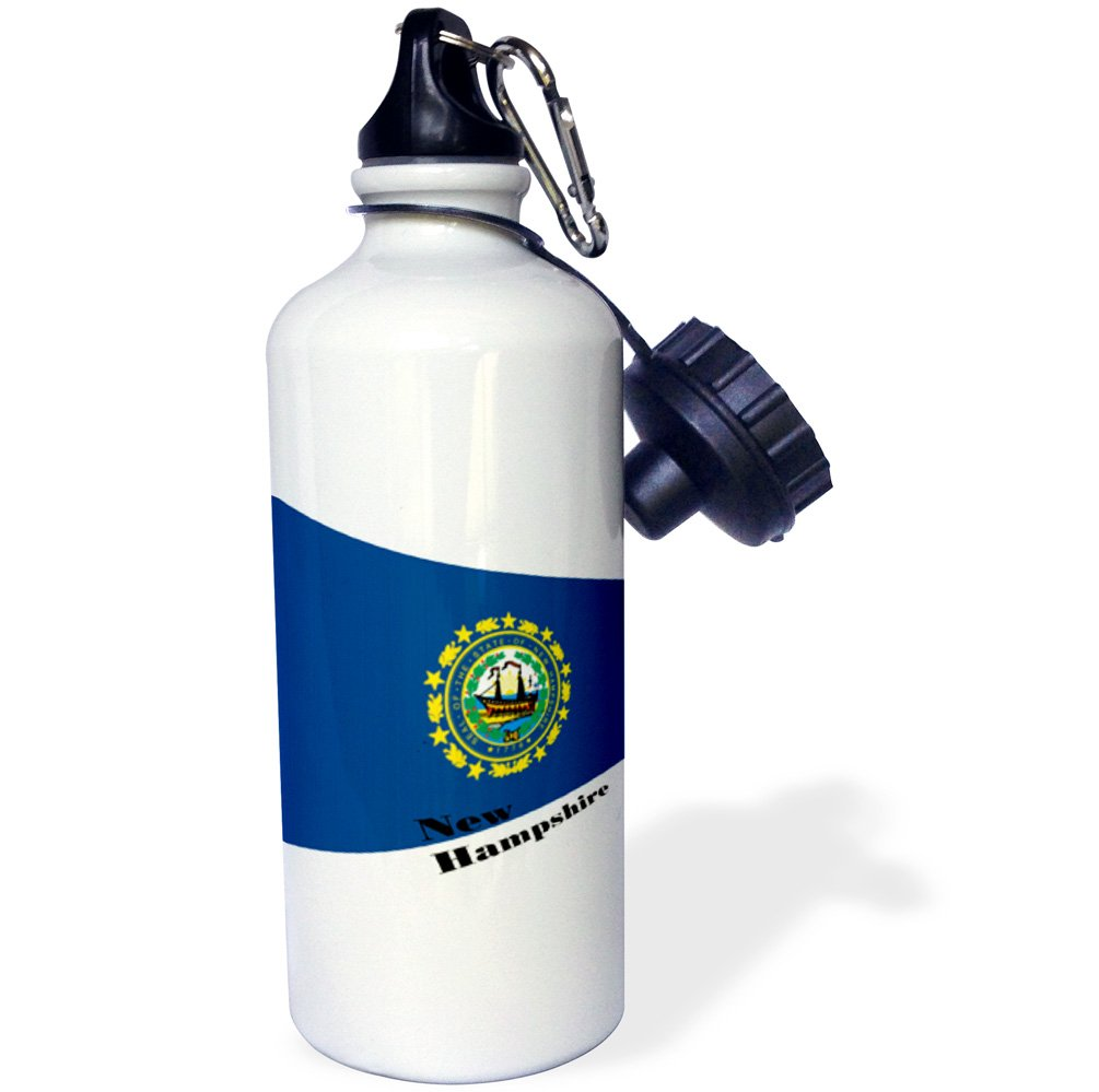 3dRose wb/_203877/_1 Print of New Hampshire Flag In Contemporary Sports Water Bottle 21oz Multicolored