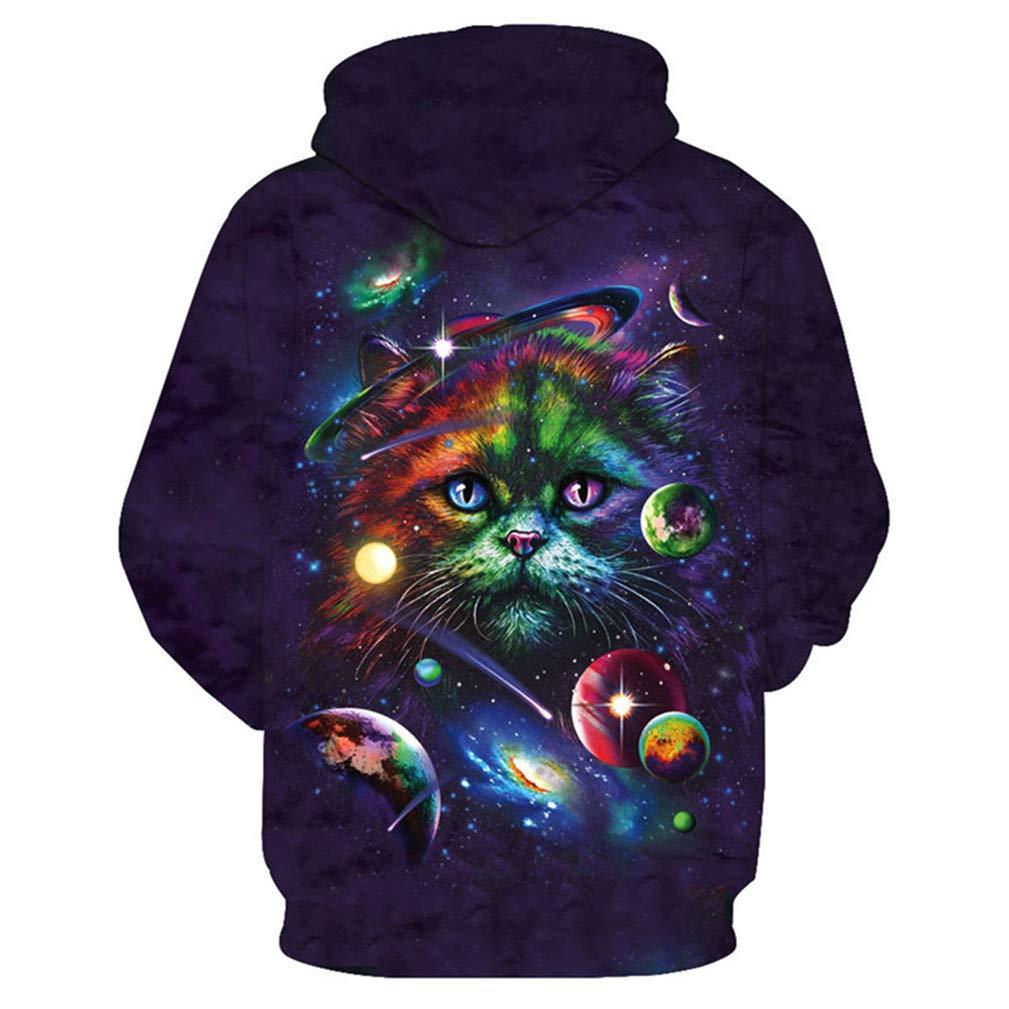 Color Galaxy Garfield Purple Hooded Sweatshirt Cool Pullover Hoodies