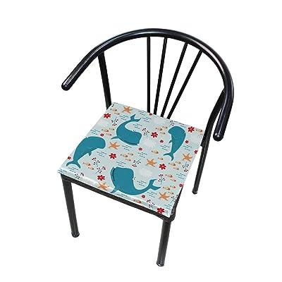 FICOO Home Patio Chair Cushion Animal Dolphin Starfish Square Cushion Non-Slip Memory Foam Outdoor Seat Cushion, 16x16 Inch: Home & Kitchen