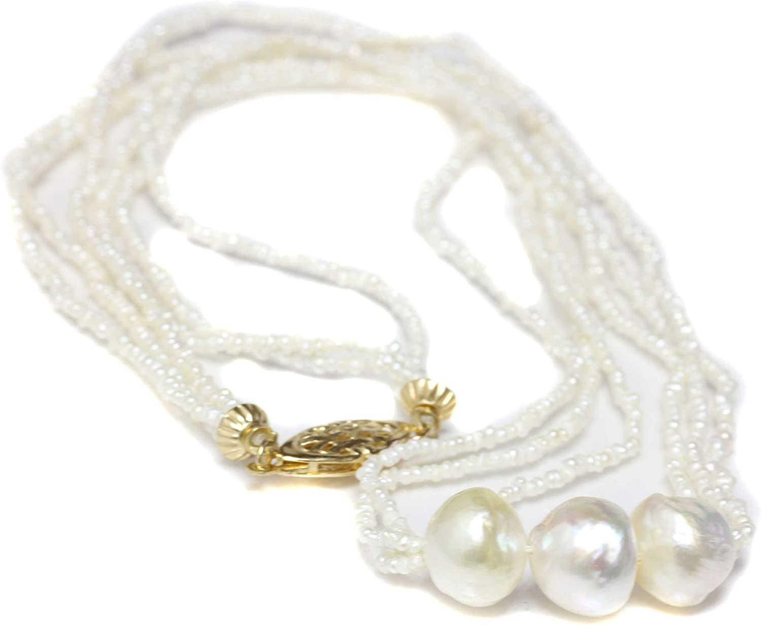 Cultured pearl necklace Gold necklace 3 real pearls Trio of white mother-of-pearl pearls June birth stone Delicate gold necklace