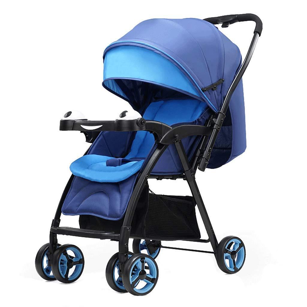 ベビーバギーは座ることができ、軽いポータブル折りたたみショックプルーフベビーカーのプッシュチェアは5点のシートベルトで、四季は03歳までご利用いただけます。 (色 : 青)  青 B07L31FNYV