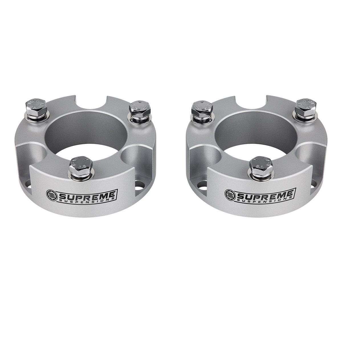 Supreme Suspensions Toyota Tacoma Lift Kit 3'' Front Lift Aircraft Billet Strut Spacers (Silver)