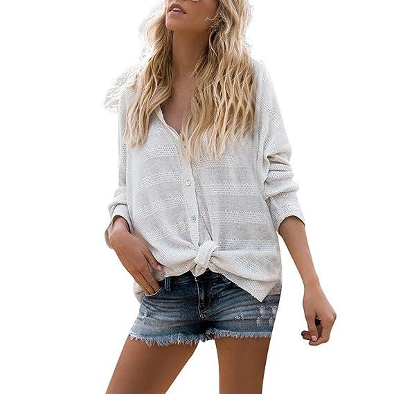 ❤️Blusa de Manga Larga con Botones,Blusa de la Moda de Mujer Camiseta de Tejer Moda Blusa Tops Absolute: Amazon.es: Ropa y accesorios