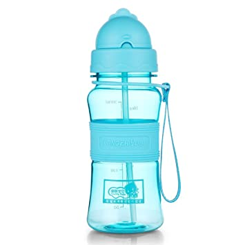 qileyin botella de agua con tapa con pajita plástico Tritan libre de BPA botella niños 300