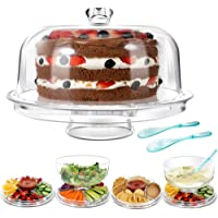 Cake Stands with 2PCS Spoons 6 in 1 Multi-Functional Cake Stand with dome 31.5CM Chip Dip Server with Dome Masthome