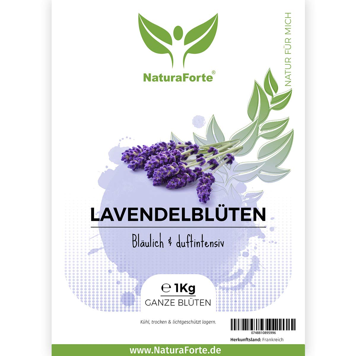 NaturaForte Lavanda Seca 1Kg Natural. Lavanda Aromática Francesa. Aromaterapia.